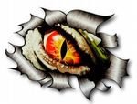 Ripped Torn Metal Design With EVIL EYE Monster Motif External Vinyl Car Sticker 105x130mm